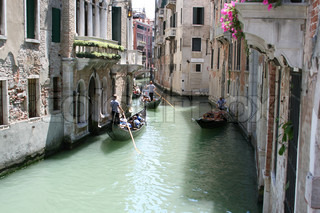 Italy, Venice, antique buildings along Canals