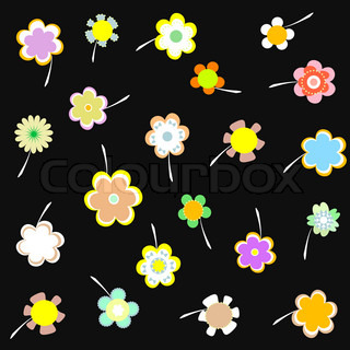 Decorative wallpaper with flowers on black background vector