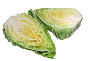 Pointed cabbage cut in two