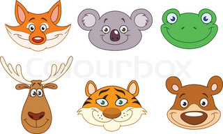 Cartoon animal head collection
