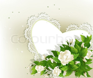 Wedding background with fresh white roses and heart