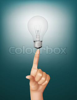 Finger touching brightly lit light bulb. Concept of idea. Vector.