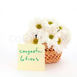 An image of basket with white daisies with inscription congratulations