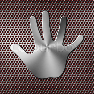 metal hand print on background