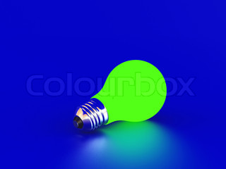 High resolution image green bulb on a blue background
