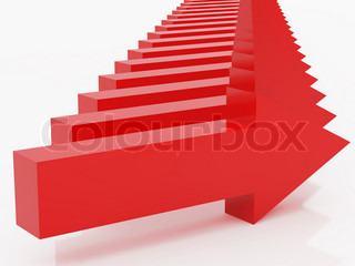 High resolution image red arrow 3d illustration over
