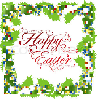 Easter holiday frame with eggs, green foliage and copyspace for your text