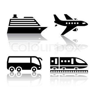 Set of transport icons - tourist transport