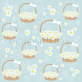 gift basket with Flowers seamless background Vector illustration