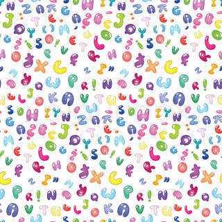 Seamless pattern of the abc bubble letters