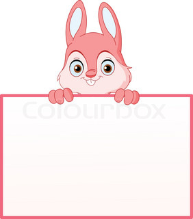 Pink bunny holding an empty sign
