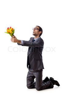 Businessman offering tulip flowers