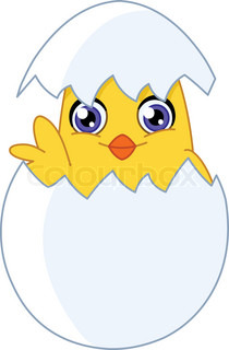 Cute chick waving from an egg
