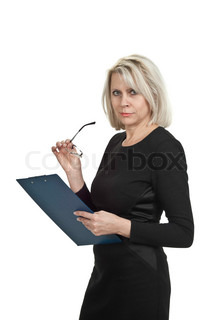 Portrait of a mature business woman with documents in hand isolated on white background