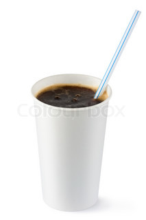 Disposable cup of cola fizzy drink with straw Isolated on a white