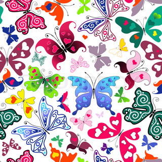 White seamless valentine pattern with colorful butterflies and hearts vector