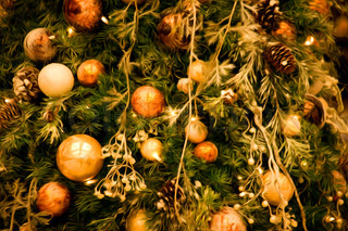 Decorated christmas tree with baubles