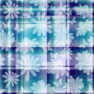 Repeating violet-blue-white checkered pattern with transparent flowers and butterflies vector EPS 10