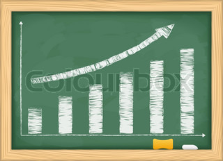Blackboard with hand drawn growing bar graph and arrow, vector eps10 illustration