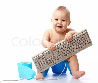 Little child holding keyboard and smile while sitting on potty, isolated over white