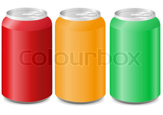 coloured aluminum cans with soda vector illustration