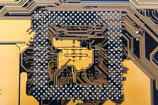 electronic circuit from motherboard as technological background