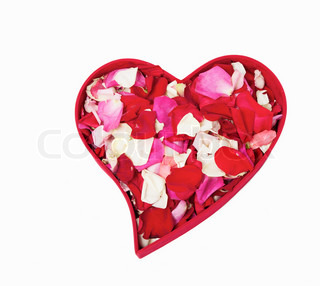 Heart form box with rose petals