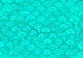 Abstract hand-drawing Seamless pattern with fish and waves, can be used for wallpaper, pattern fills, web page background, surface textures, illustration