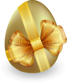 Gold easter egg tied with ribbon and bow
