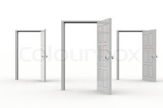 Three white open doors. Concept of possibilities.