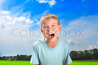 portrait of screaming boy outdoor