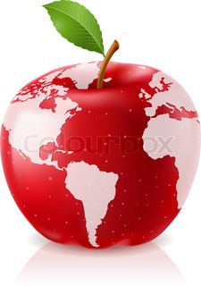 Vector Red Apple World Map on White Background