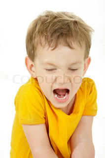 young boy shouting over white