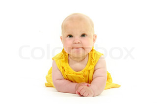 cute baby in yellow over white