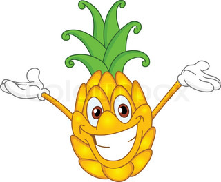 Cheerful cartoon pineapple raising his hands