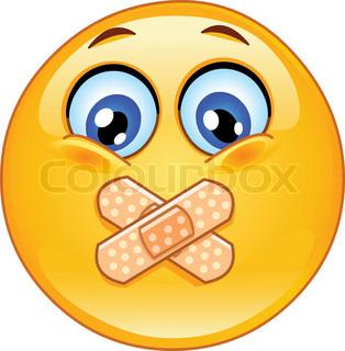 Humørikon med selvklæbende bandager over hans læber