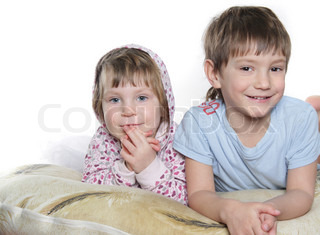 two kids over white
