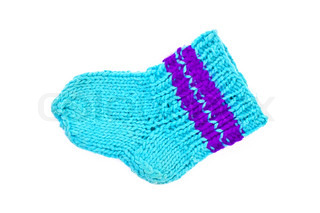 Knitted blue socks for baby isolated on white background