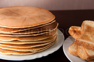 Stack of American pancakes on the table