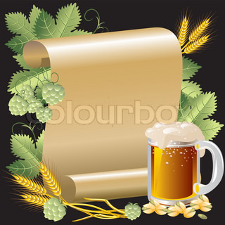 vektorgrafik bier im hintergrund der rolle von gold papier und hop stock vektor colourbox. Black Bedroom Furniture Sets. Home Design Ideas