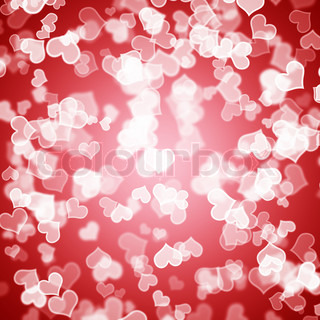 Red Hearts Bokeh Background Showing Love Romance And Valentines