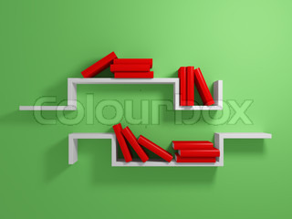 White shelves with a red books against green wall