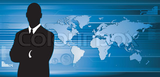 Business man technological background