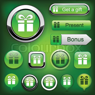 Gift green web buttons for website or app