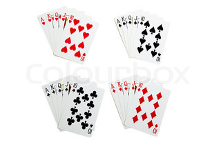 Set of royal flush cards for poker isolated