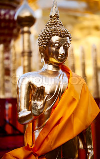 Golden Buddha statue in Doi Suthep Wat in Chiang Mai