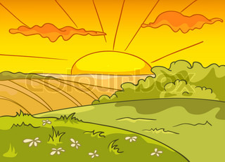 Cartoon Nature Landscape. Farm Field. Vector.