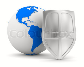 globe and shield on white background