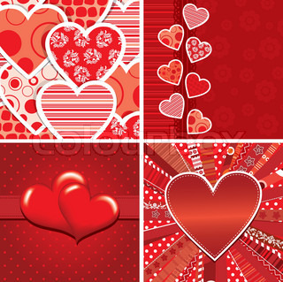 Valentine heart pattern and background, vector illustration
