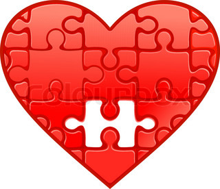 Red heart with puzzles as a concept of romantic love